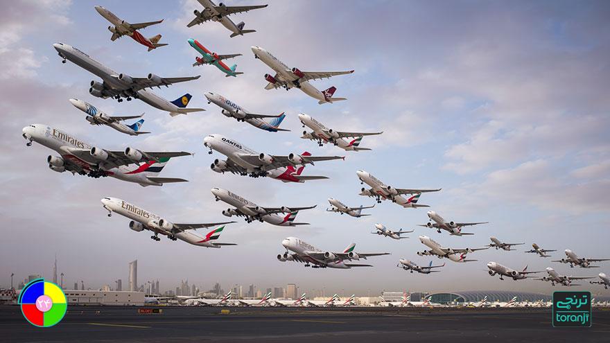 مطلب ساعت ۲۴ : این عکسهای باورنکردنی از عبور هواپیما در طول دو سال; شماره اول