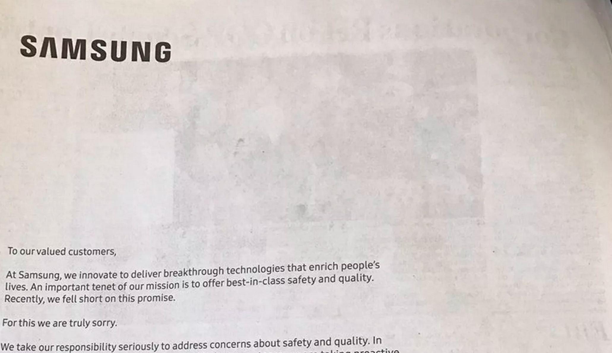 سامسونگ یک صفحه تبلیغ کامل را به عذرخواهی بابت گلکسی نوت ۷ اختصاص داد