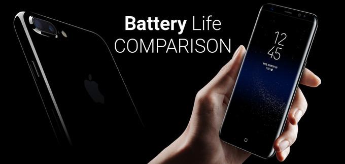 مقایسه باتری گلکسی اس ۸ و اس ۸ پلاس با آیفون ۷ و ۷ پلاس