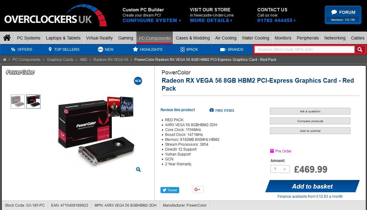 کارت گرافیک Radeon RX Vega 56 از روز گذشته در دسترس قرار گرفت