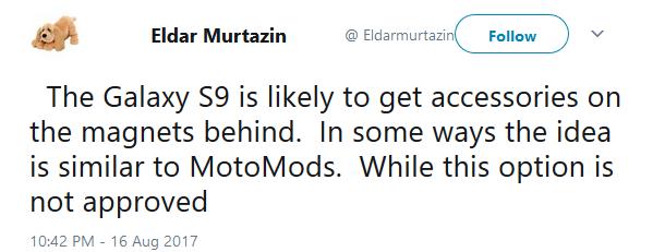 توییت ماژولار بودن گلکسی S9