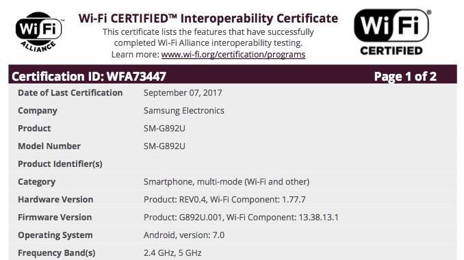 گواهینامه وای فای برای گلکسی S8 اکتیو