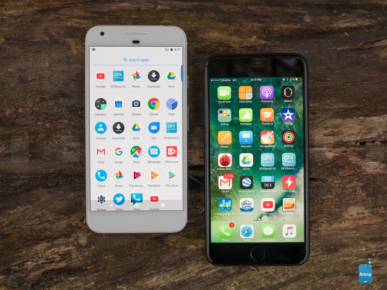 تماشا کنید: مقایسه سرعت آیفون 7 پلاس بروزرسانی شده به iOS 11 و گوگل پیکسل XL با اندروید 8 اوریو