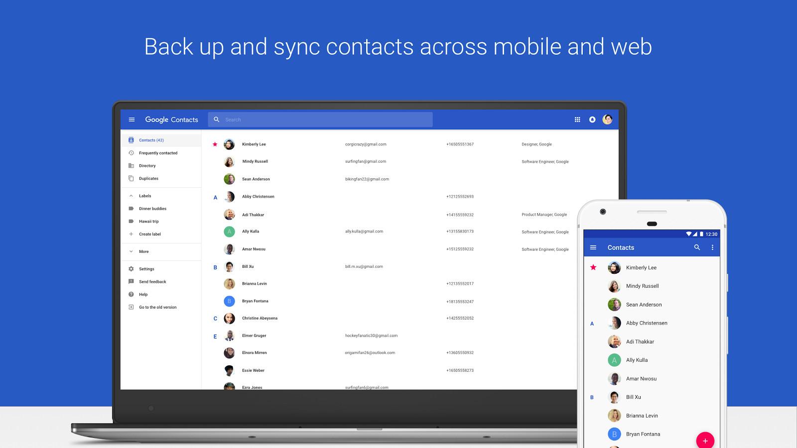 برنامهی Google Contacts برای دستگاههای اندرویدی بروزرسانی شد