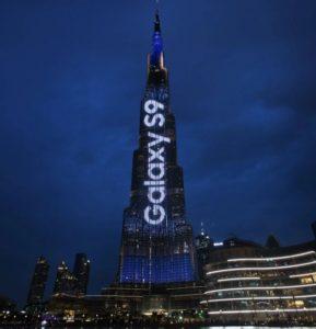 گلکسی اس 9 روی برج خلیفه