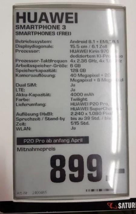 مشخصات سخت افزاری هوآوی پی 20 پرومشخصات سخت افزاری هوآوی پی 20 پرو