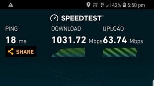 تست سرعت 4G گلکسی اس 9