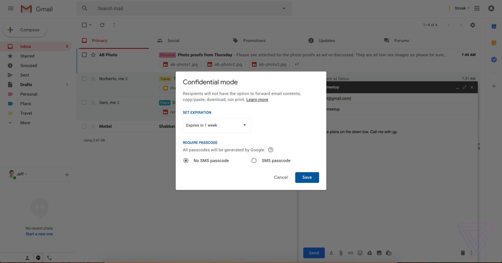 """طراحی جدید جی میل (Gmail) """"حالت محرمانه"""" دارد"""