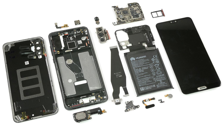 کالبدشکافی هوآوی پی 20 پرو توسط iFixit منشتر شد، امتیاز 4 از 10 و اینکه هر 3 دوربین OIS دارند