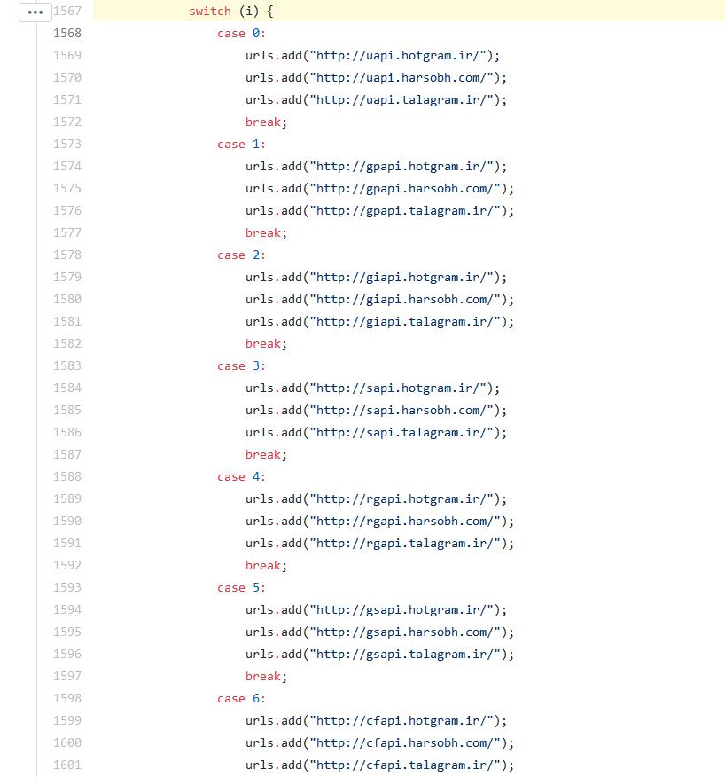تصویری از لیست سرورها