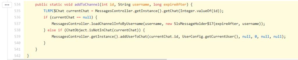 تابع addToChannel در کلاس SlsMessageHolder