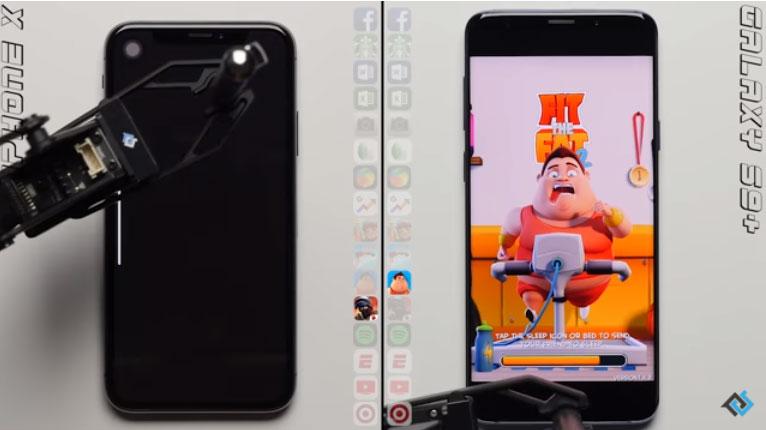 تست سرعت آیفون X با iOS 12.2 در کنار گلکسی اس 9 پلاس