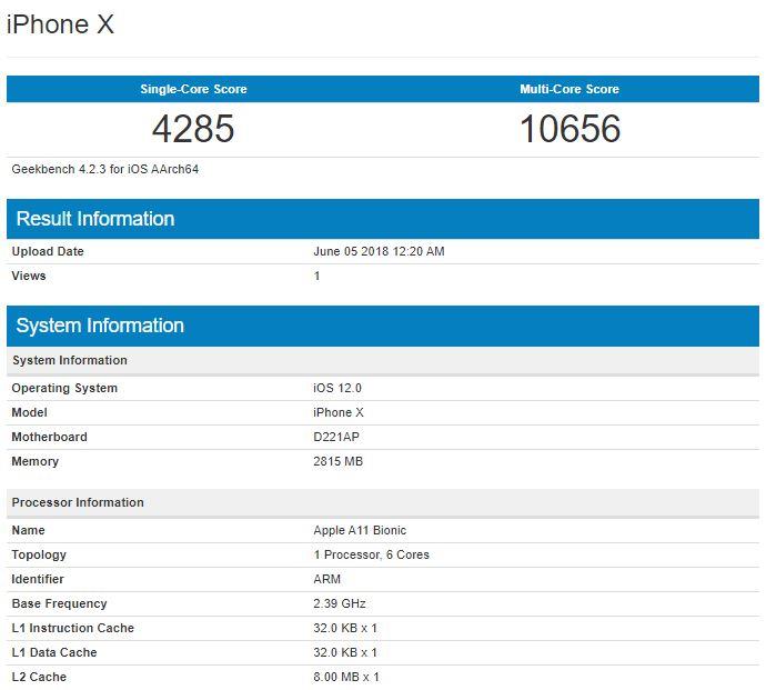بنچمارک آیفون X با iOS 12