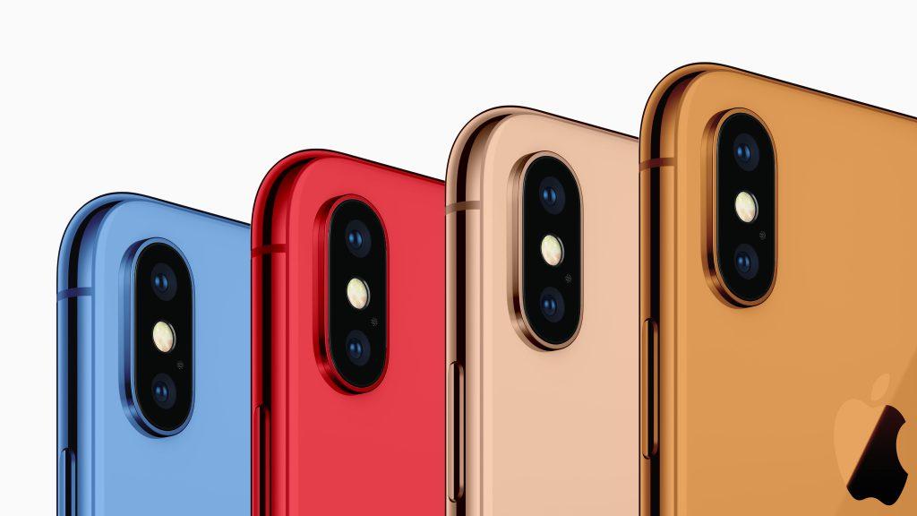 رنگ های آیفون ۲۰۱۸ عبارت است از: آبی، قرمز، طلایی، نارنجی، خاکستری و سفید