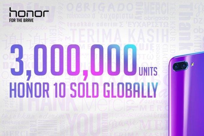 آنر ۱۰ (Honor 10) مرز فروش ۳ میلیون دستگاه را درنوردید