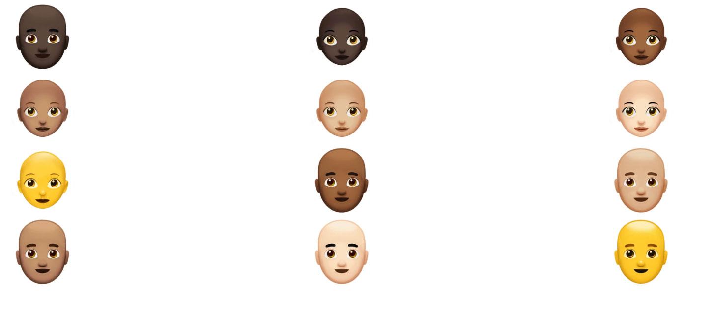 اموجی های جدید اپل برای کچل ها، موهای فر، قرمز و سفید و فوق قهرمان ها