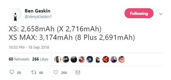 حجم باتری آیفون Xs