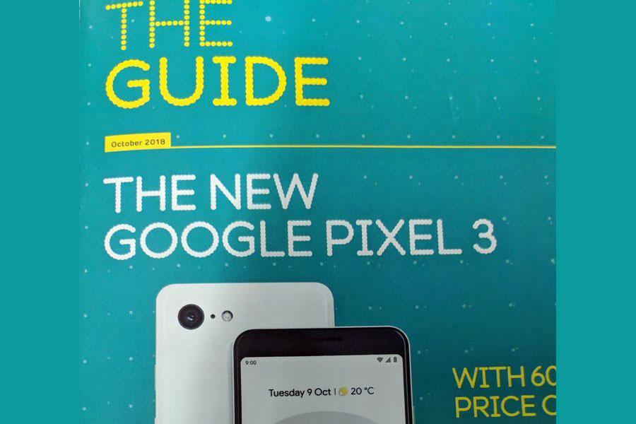 یک بروشور گوگل شامل Google Home Hub، پیکسل 3 و پیکسل 3 ایکس ال لو رفت