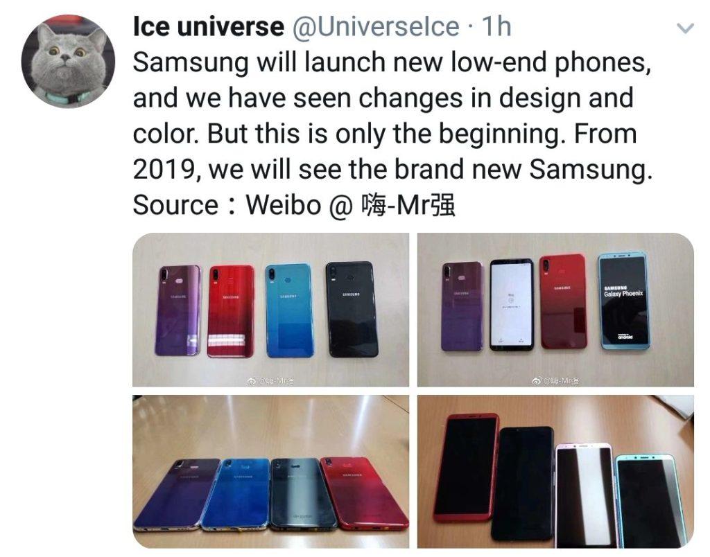 New Samsung low end devices 1024x804 - موبایل های پایین رده سامسونگ در سال ۲۰۱۹ شاهد طراحی و رنگبندی جدیدی خواهند بود