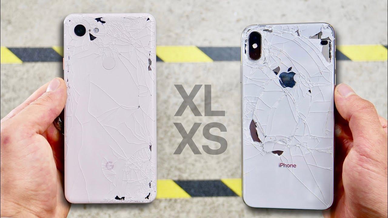 تست سقوط پیکسل 3 ایکس ال با آیفون Xs مکس