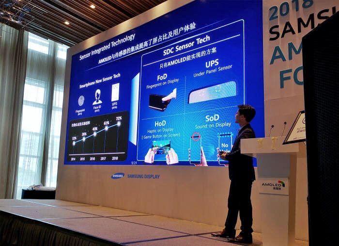 سامسونگ فناوری های حسگر اثرانگشت، بلندگو، ویبره و سنسورهای یکپارچه با نمایشگر را در Samsung OLED Forums 2018 معرفی کرد