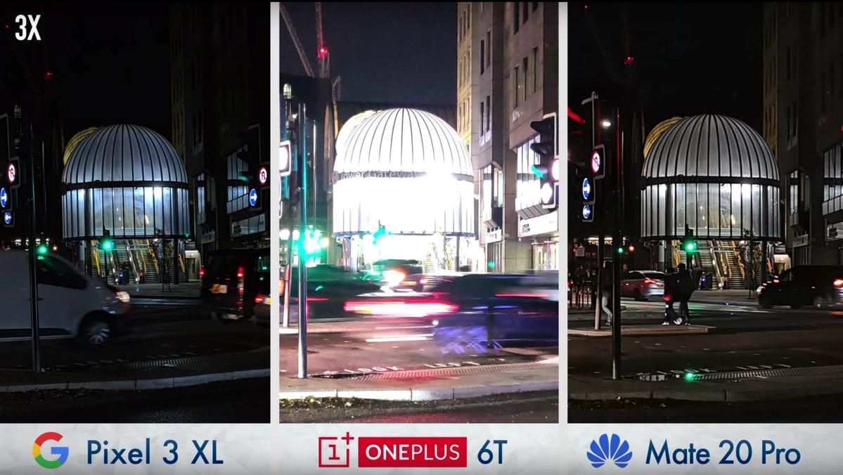 مقایسه حالت شب دوربین پیکسل ۳ ایکس ال با هوآوی میت ۲۰ پرو و وان پلاس 6T