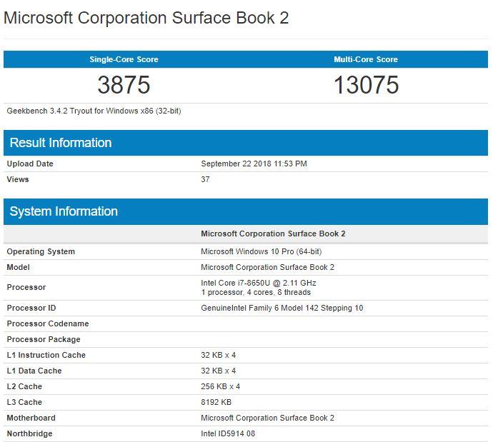 بنچمارک Surface Book 2 با چیپست Core i7