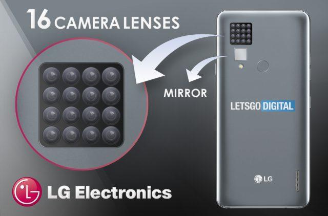 حق اختراع دوربین ۱۶ تایی ال جی با آینه روی قاب پشتی