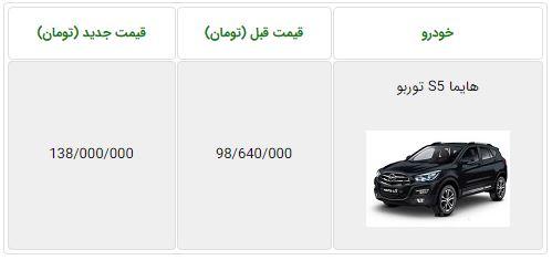 قیمت جدید هایما S5