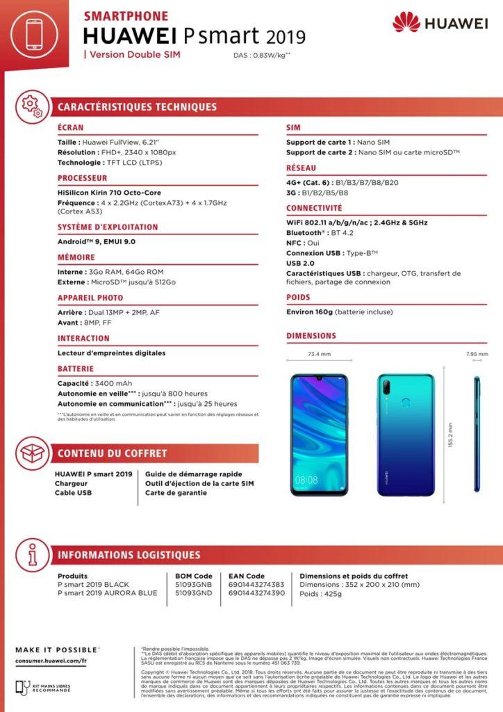 مشخصات سخت افزاری هوآوی پی اسمارت ۲۰۱۹