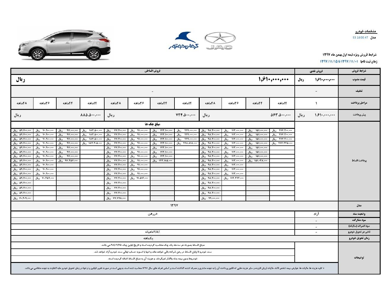 شرایط فروش اقساطی جک S3 با تحویل یکماهه