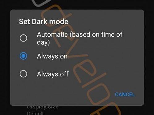 تم تاریک اندروید ۱۰