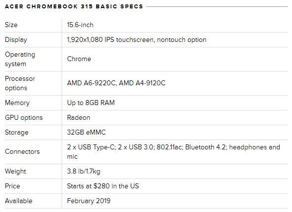 مشخصات سخت افزاری کروم بوک ۳۱۵ (Chromebook 315)