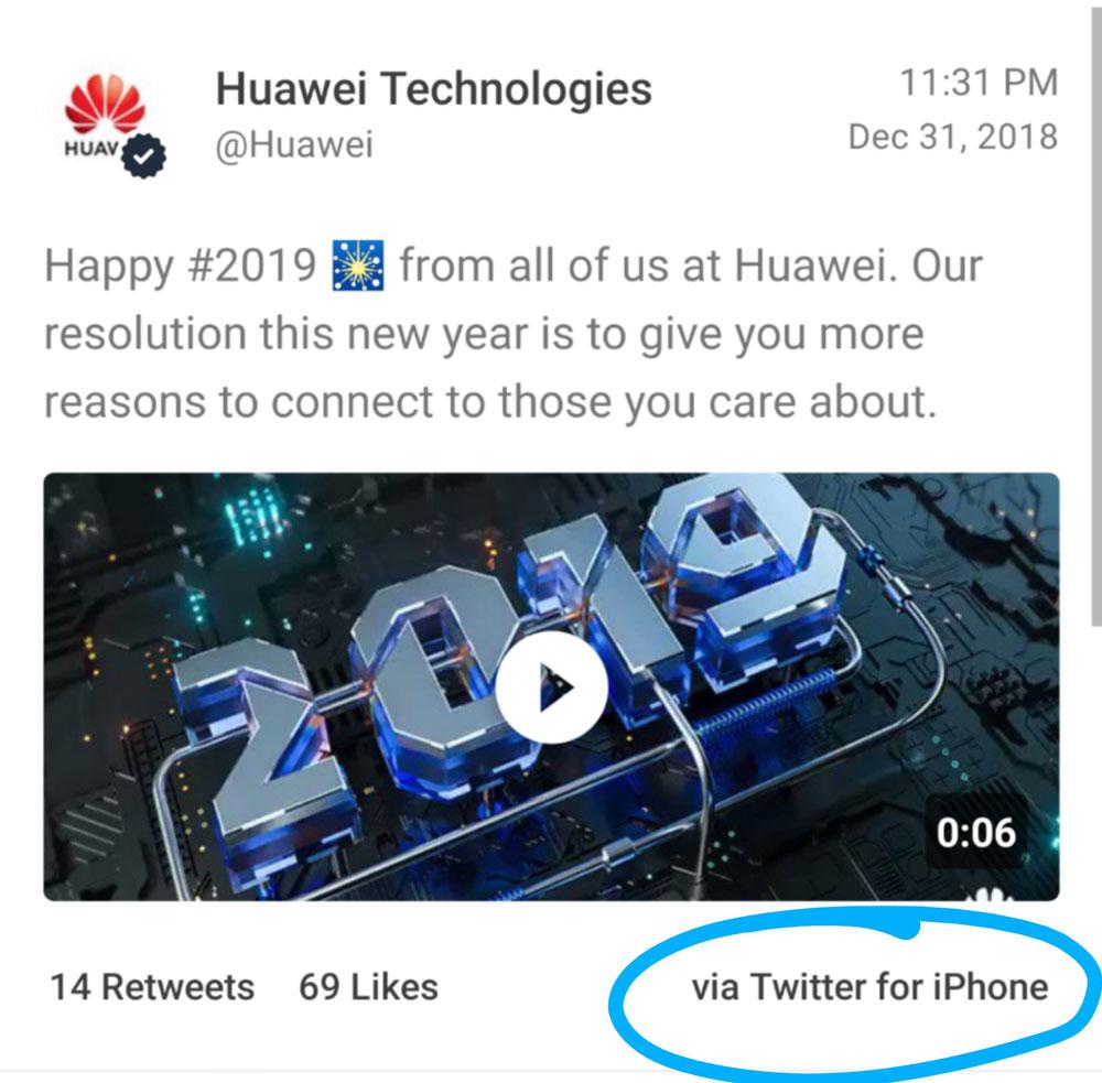 توییت تبریک سال نو هوآوی از یک آیفون