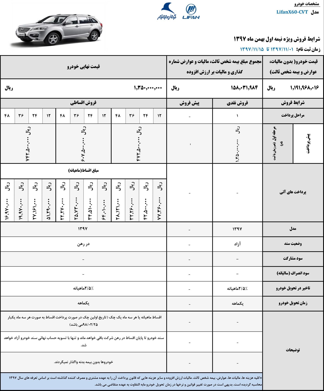 شرایط فروش فوری و قسطی لیفان X60 بهمن ۹۷