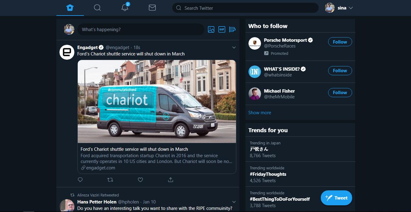 طراحی جدید توییتر