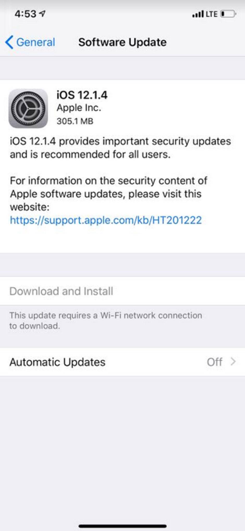 آپدیت iOS 12.1.4