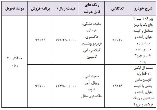 فروش فوری ایران خودرو ۱۱ اسفند ۹۷