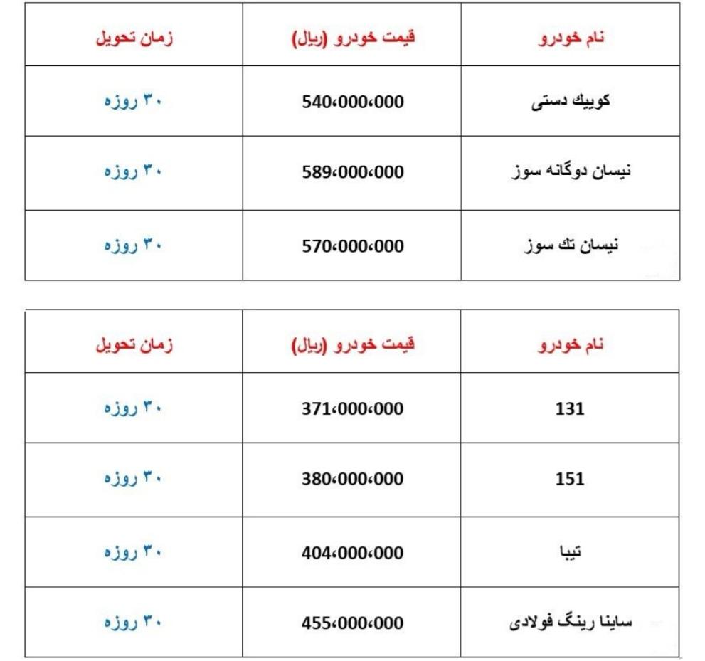 فروش فوری محصولات سایپا ۳ اسفند ۹۷ + جدول قیمت و مدل