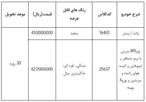 فروش فوری ایران خودرو ۱۴ اسفند برای پژو ۴۰۵ و وانت آریسان