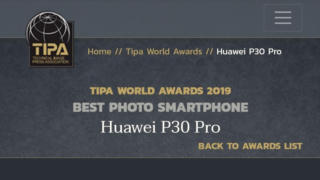 دوربین هواوی پی ۳۰ پرو (Huawei P30 pro) جایزه Tipa 2019 را برای بهترین دوربین موبایل ۲۰۱۹ برنده شد