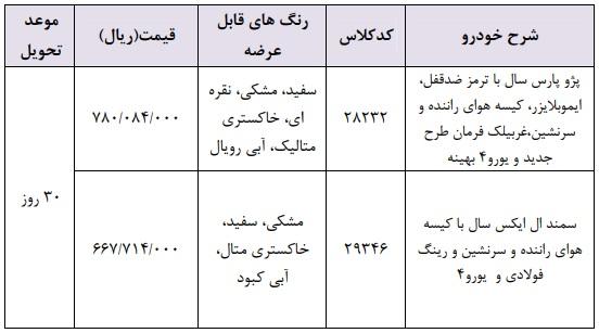 جدول شرایط فروش فوری ایران خودرو شنبه ۲۸ اردیبهشت ۹۸