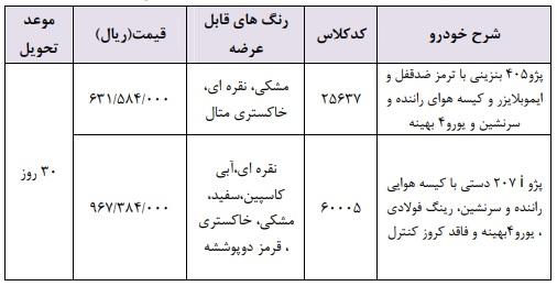 شرایط فروش فوری ایران خودرو ۳۱ اردیبهشت ۹۸