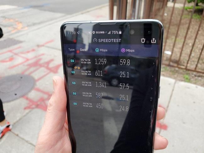تست سرعت اینترنت 5G روی نسخه 5G گلکسی اس ۱۰