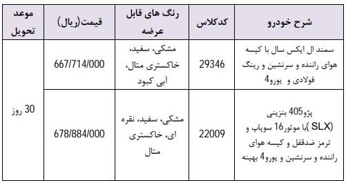 شرایط فروش فوری ایران خودرو دوشنبه ۳۰ اردیبهشت ۹۸