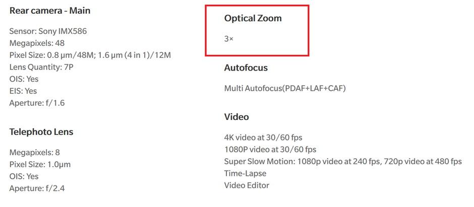 zoom3 - وان پلاس درباره زوم اپتیکال دوربین وان پلاس ۷ پرو اطلاعات غلط داده است