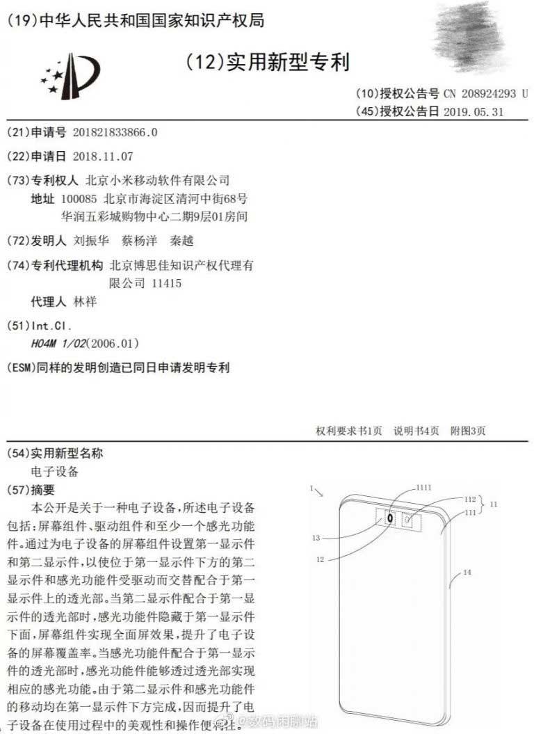 حق اختراع شیائومی برای دوربین سلفی زیر نمایشگر