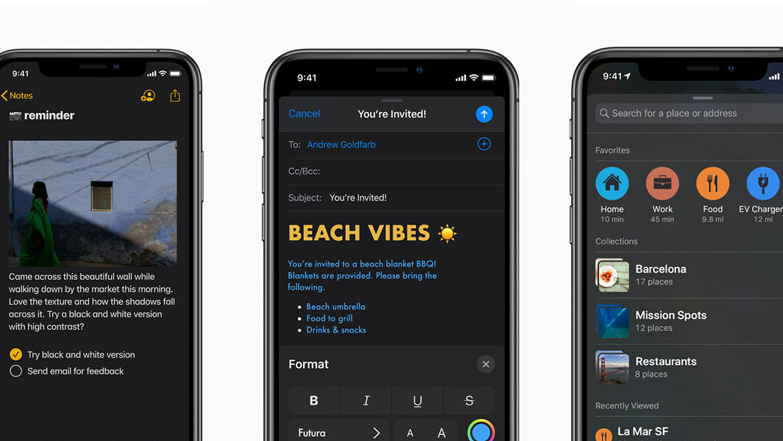 نگاهی به فضای تم تاریک iOS 13