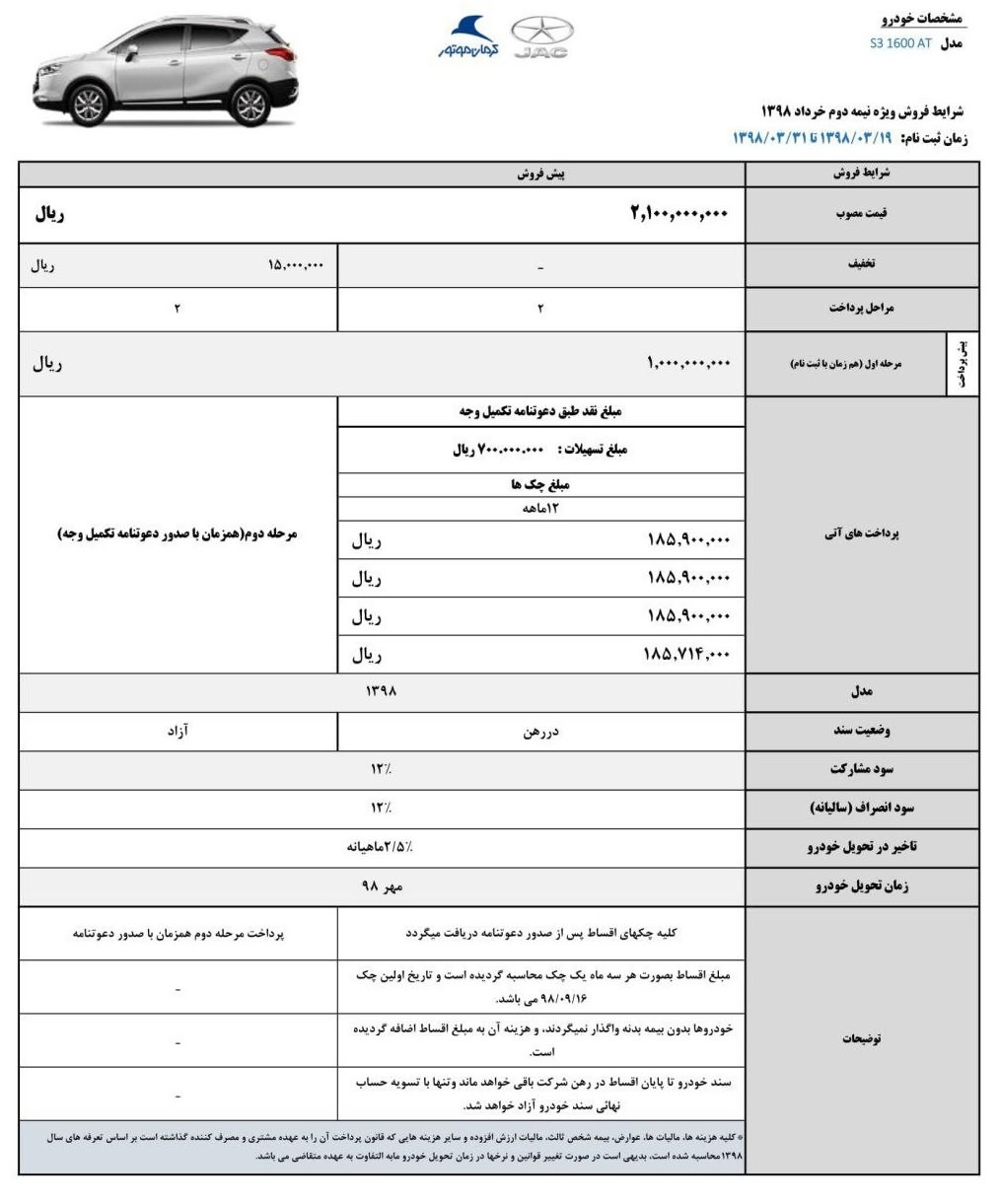 طرح فروش اقساطی جک اس ۳ (Jac S3) اتوماتیک خرداد ۹۸