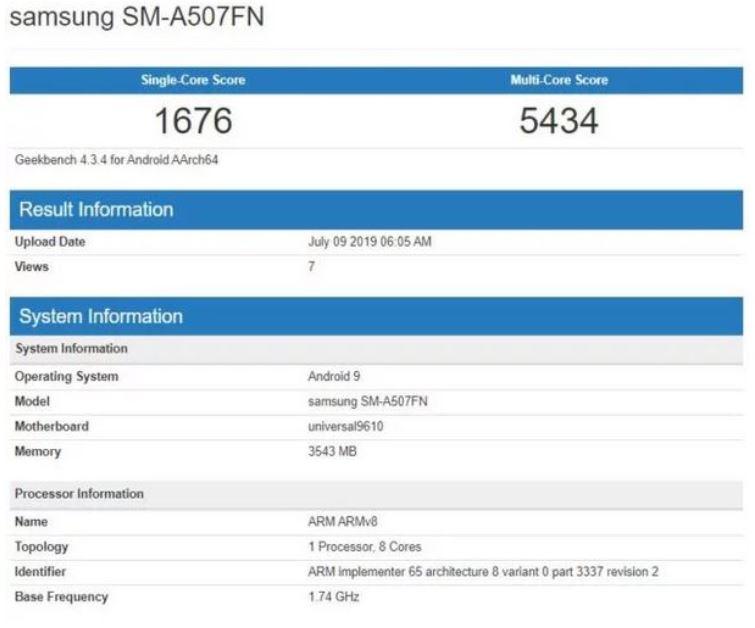 بنچمارک گلکسی ای ۵۰ اس (Galaxy A50s)